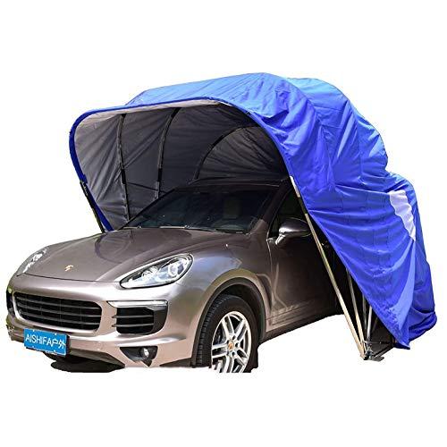 A&DW Autohaus, Autodach, Parkplatz, faltbar, Edelstahl, mobiles Garagenzelt Wasserdichter Anti-UV-Schutz Wind Schnee,Blau,250 X 550cm