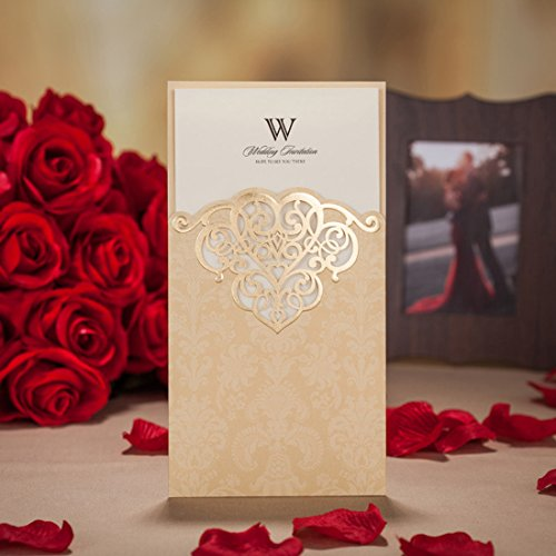 WISHMADE 1 Piece Gold Laser Cut Invitation with Screen Printing and Bronzing Design Invites Kit, for Wedding Bridal Shower Engagement Birthday Quinceanera Baby Shower with Envelope