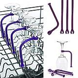 N\A Botellero 4 unids Ajuste Flexiblemente Silicona Vino Vino Lavavajillas Lavavajillas Cobera Safer STEMWARE SHOVER Purple Soporte (Color : GJ0049A)