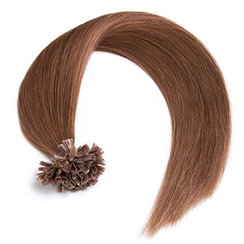 Goldbraune Bonding Extensions aus 100% Remy Echthaar - 300 x 0,5g 45cm Glatte Strähnen - Lange Haare mit Keratin Bondings U-Tip als Haarverlängerung und Haarverdichtung in der Farbe 8# Goldbraun