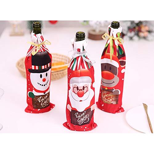 QACFD 6 Piezas Navidad Bolsas para Botellas de Vino Cubiertas para Botellas de Vino de Navidad Soporte para gife con Papá Noel/Muñeco de Nieve Decoración navideña