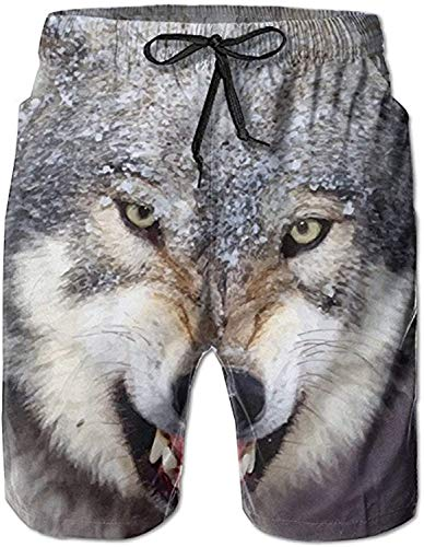Love girl Snow Angry Wolf Swim Trunks Shorts de Playa de Secado rápido Inicio Deportes acuáticos Shorts para Hombres