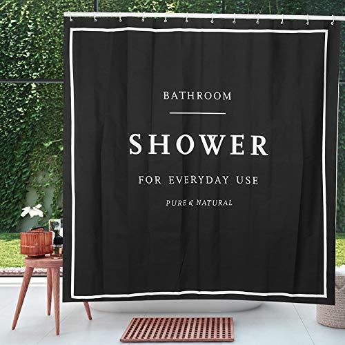 JULYKAI Schwarzer moderner einfacher Bad-Duschvorhang, englische Buchstaben mit Metallringen Loch-Badevorhang, Badewannen für Duschen Badezimmerstände
