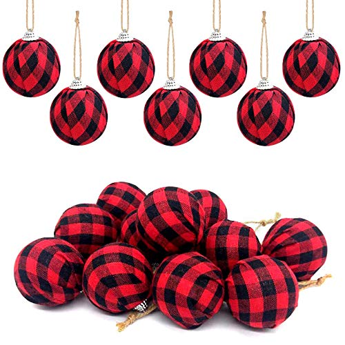 Deloky 16Pcs Buffalo Plaid Fabric Ball- 2.16 Inch Small Christmas Fabric Wrapped Balls Valentines Hanging Ornament for Christmas Tree Party Decoration Supplies (Red)