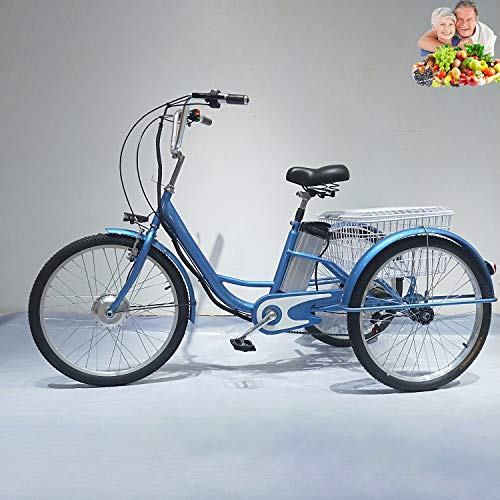 Tricycle adult electric 24inch 3-wheel bicycle for elderly parents trike bikes lithium battery removable with enlarged rear basket shopping 48V12AH power-assisted tricycle pedal bicycle ladies