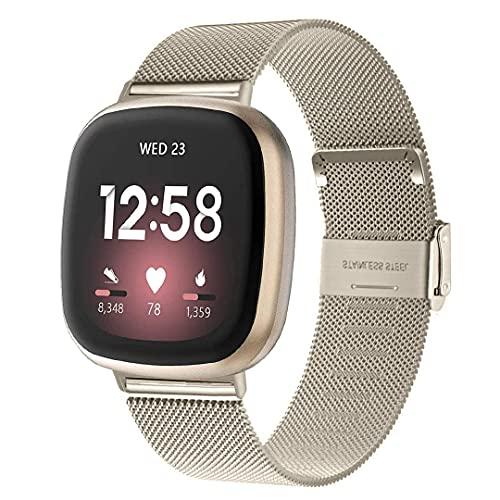 WATORY Pulsera compatible con Fitbit Versa 3 / Fitbit Sense, malla de acero inoxidable de metal, correa de repuesto para...