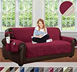 QuickFit Reversible Couch Cover for Dogs, Kids, Pets - Sofa Slipcover Furniture Protector for Sectional 3 Cushion Couch, Recliner, Loveseat and Chair (Sofa: Solid Red/Beige)