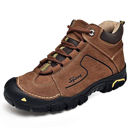 IENNSA Botas de Senderismo Hombres Zapatos de Escalada Deportivos al Aire Libre al Aire Libre con Cordones de Cuero Genuino Impermeable Impermeable (Fleece Alineado Opcional)