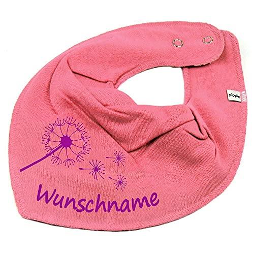 HALSTUCH PUSTEBLUME mit Namen oder Text personalisiert bubblepink für Baby oder Kind
