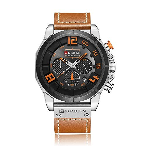 Reloj para Hombre Cronógrafo Reloj de Cuarzo analógico Vestido de Negocios Masculino -B