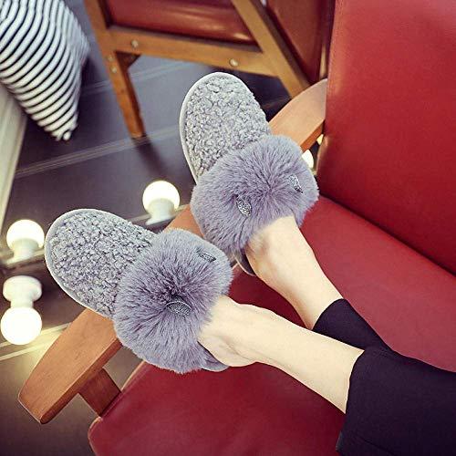 CDNS Zapatillas de casa Casual, versión coreana de las zapatillas de piel de orejas de conejo Zapatillas de interior Ocio confort Zapatillas suaves y ligeras Ropa suelta Zapatillas de algodón