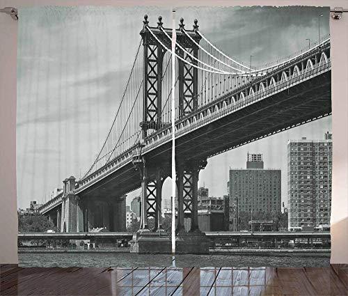 Waple rideau occultant œillet pour le salon Rideaux de New York, vintage East River vue sur le pont de New York 150*166cm Rideaux Occultants 3D Rideau De l'espace Rideau Occultant en Polyester pour Ch
