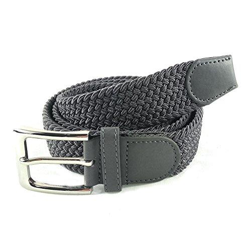 MYB Cintura elastica intrecciata per Uomo e Donna - diversi colori e dimensioni (105-110 cm, Grigio)