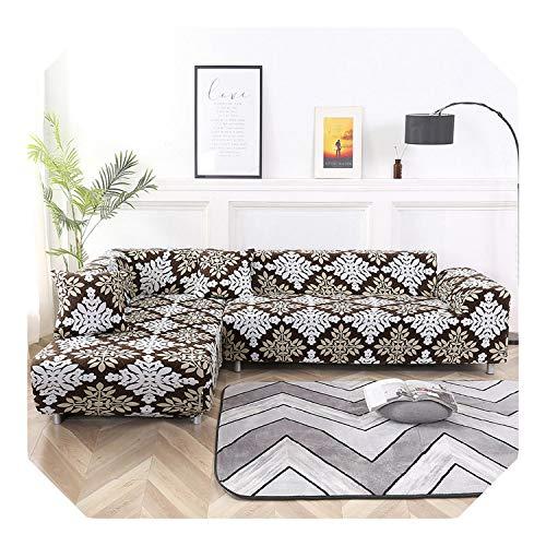 N/A Ecksofabezug, Stretchdruck, L-Form, Couch-Sofa, 2 Kissen, Kombinationsset, Möbelschutz, K386-4-Sitzer und 4-Sitzer