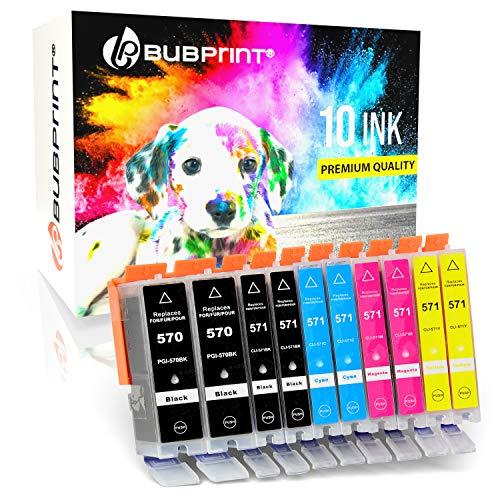 10 Bubprint Druckerpatronen kompatibel für Canon PGI-570 CLI-571 XL für Pixma MG5700 MG5750 MG5752 MG5753 MG6850 MG6852 MG7750 TS5000 TS5050 TS5053 TS5055 TS6050 TS8050 Multipack
