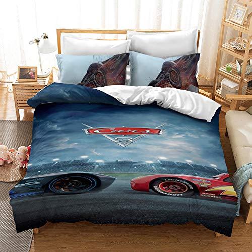 YBBY-U Ropa de cama infantil de Disney Cars para niños, 2 piezas, 1 funda de almohada de 75 x 50 cm + 1 funda nórdica (Y07, 200 x 200 cm + 75 x 50 cm x 2)