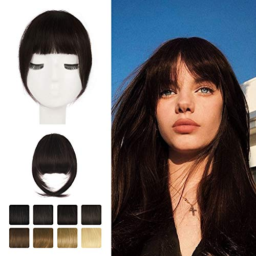 Clip in Bangs, BARSDAR 100% Human Hair Bangs Extensions French Bangs Neat Bangs with Temples Clip on Fringe Bangs Real Hair for Women Natural Color Washable/Dyeable(French-Darker Brown)