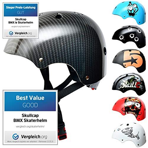 Skullcap® Skaterhelm Kinder Carbon Carbon - Fahrradhelm Jungen ab 6 Jahre Größe 53-55 cm - Scoot and Ride Helmet Kids - Skater Helm für BMX Scooter Inliner Fahrrad Skateboard Laufrad