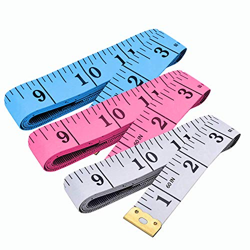 Measuring Tape, Tape Measure for Body 3 Pack Double Scale Measurement Tape for Sewing, Body, Tailor 60 Inch/ 150 cm, White, Blue and Pink