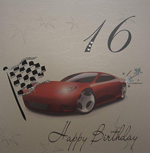 white cotton cards verjaardagskaart, racewagen Happy 16th, handgemaakt