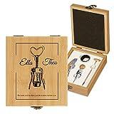 Murrano Weinöffner-Set personalisiert Weinset Sommelier Set - Geschenkbox Holzbox + 4er Weinzubehörset - aus Bambus - Braun - Geschenk Hochzeit Hochzeitstag Paar - Lust