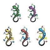 DONGKER 5 Stück Gecko Decro, Metall Gecko Eidechse Ornamente Metall Eidechse Garten Gecko Dekor Metall Gecko Wandkunst - Indoor/Outdoor Garten Dekoration