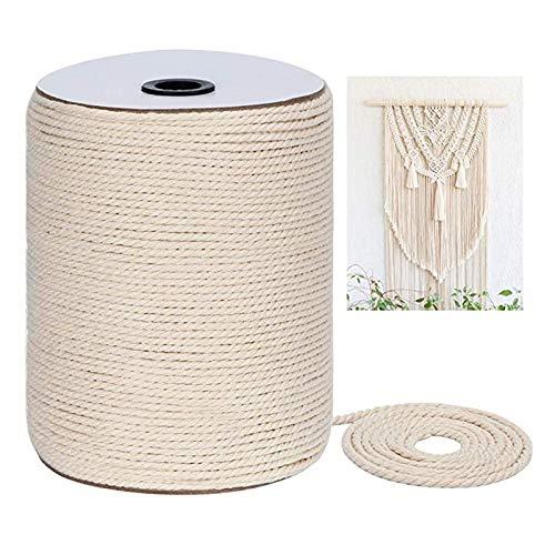 Hilo de macramé, hilo de algodón 100 % natural, cuerda de algodón para manualidades, manualidades, pared, plantas, colgador, atrapasueños, bohemio, decoración de boda (beige, 3 mm x 300 m)