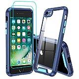 LeYi Funda iPhone SE 2020 / iPhone 8 / iPhone 7 con [2-Unidades] Cristal Vidrio Templado, [Anti-Rasguño] Armor Carcasa Hard PC y Silicona TPU Gel Bumper Antigolpes Protección Case,Azul