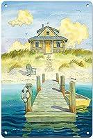 ウェルカムホーム - 居心地の良いビーチコテージ ヴィンテージスタイル メタルサイン アイアン ペインティング 屋内 & 屋外 ホーム バー コーヒー キッチン 壁の装飾 8 x 12インチ