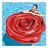 Cisne 2013, S.L. Colchoneta Hinchable para Piscina diseño Flor Rosa Roja con agarraderas. Tamaño 137x132cm. Flotador Gigante Asiento para Piscina Diseño Flor Roja