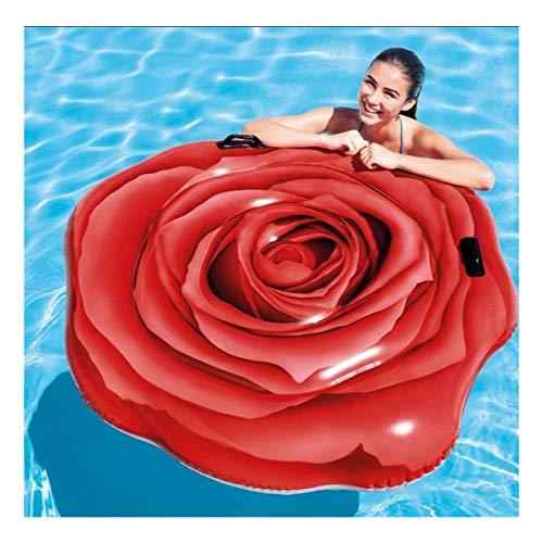 Colchoneta Hinchable para Piscina diseño Flor Rosa Roja con agarraderas. Tamaño 137x132cm