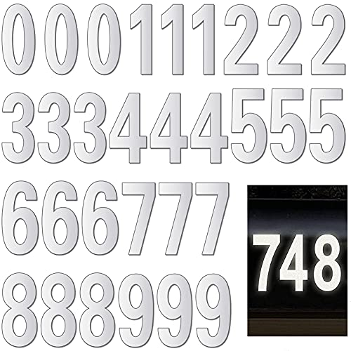 30 PCS Waterproof Reflective House Mailbox Number, Large 3 Inch Adhesive 0-9 Vinyl Number Sticker for Mailbox, Signs, Door, Car, Outside (White)