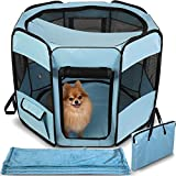 Dog Playpen with Blanket – Portable Soft Sided Mesh Indoor & Outdoor Exercise Play Pen for Pets - Blue