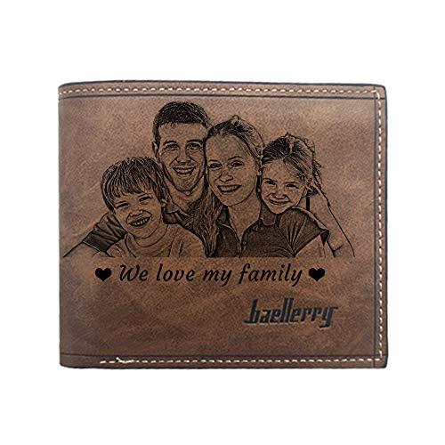 Cartera Personalizada con Foto para Hombre, Cartera Grabada Personalizada, Regalos Personalizados para Hombres, Padres, Maridos E Hijos (Marron Oscuro)