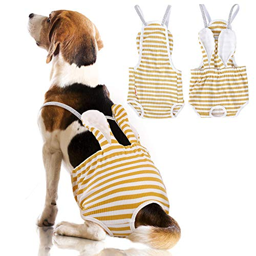 IDOMIK Reusable Female Dog Diapers Sanitary Panties with Adjustable Suspender, Puppy Stripe Underwear Diaper, Soft Cotton Physiological Pants Nappies Suit for Female Girls Dogs Corgi Bulldog in Heat