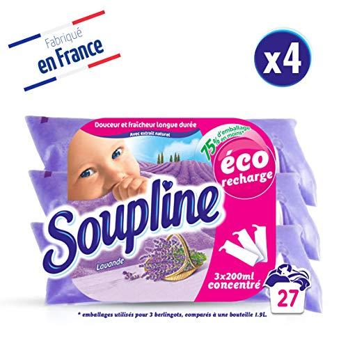 Soupline Lavande, Adoucissant/Assouplissant, éco-recharge à diluer, 3x200ml, en complément de votre lessive - lot de 4
