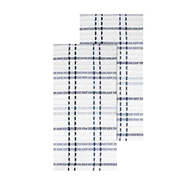 Ritz Royale Collection 100% Combed Terry Cotton, Highly Absorbent, Oversized Checked Kitchen Towel Set, 28  x 18 , 2-Pack, Federal Blue