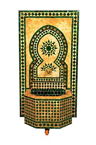 Marokkanischer orientalischer ORIGINAL Mosaik Gartenbrunnen Brunnen Mosaikbrunnen Zimmerbrunnen inklusive Pumpe Estrella Grün, 110cm