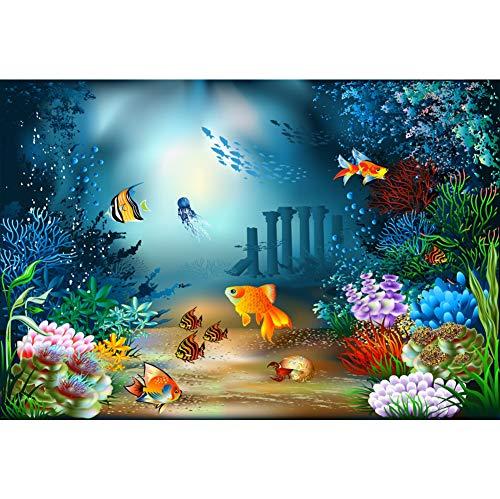 Cassisy 1,5x1m Vinilo Submarino Telon de Fondo Panorama de Especies Marinas Paisaje de arrecifes de Coral Algas Marinas Fondos para Fotografia Party Infantil Photo Studio Props Photo Booth