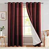 JINCHAN Blackout Curtain for Bedroom Lined Thermal Grommet Top Light Reducing Room Darkening Window Curtain for Living Room One Panel 95 Inch Length Burgundy