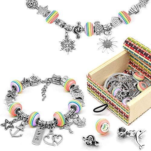 Houkiper Charm Bracelet, Houkiper Girls Charm Bracelet Making Set DIY Kits de fabricación de joyas para niñas Kit de artesanía para niñas y niños