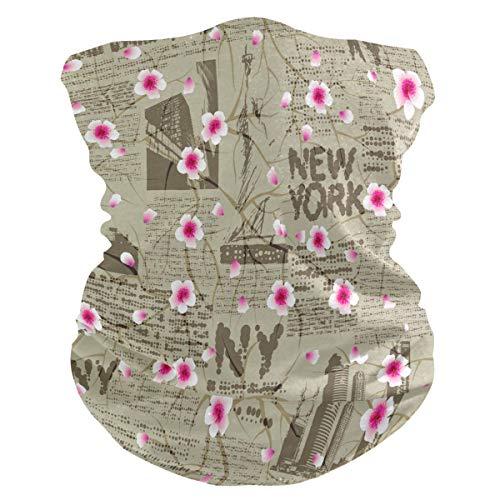 SunsetTrip - Bandana multifuncional con diseño de flor de cerezo de Nueva York, para la cara, el polvo, los rayos UV, para el cuello, para deportes, senderismo, correr, ciclismo