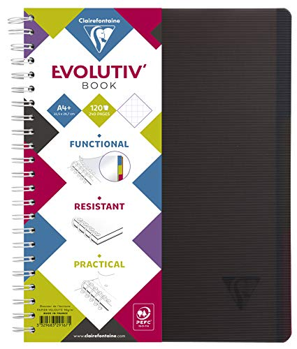 Clairefontaine 329167C EvolutivBook Linicolor (DIN A4+, 120 Blatt, kariert) 1 Stück schwarz