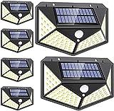 DOOK Focos Solares Exterior, [6 Pack / 3 Modos ] Luz Solar Exterior con Sensor Movimiento, 100 LED Luces LED Solares para Exteriores Impermeable Lampara Solar Aplique LED Solar para Exterior Jardin