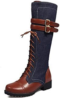 Women Mid Calf Boots Belt Buckle Fashion Lace Up Denim Round Toe Zipper Motorcycle Boots