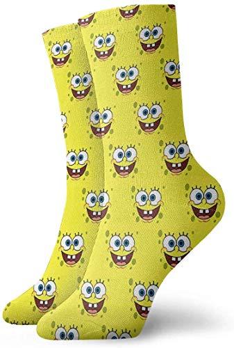 Bigtige Herren-Crew-Socken SpongeBob-Gesichtsbemalung Kompressionssocken Lässige Polstersocken