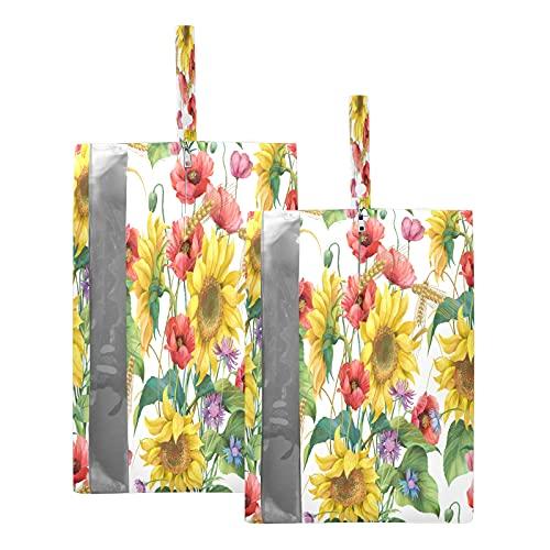 F17 Bolsas de viaje para zapatos de girasol, amapola, flores, bolsa de almacenamiento, impermeable, portátil, ligera, bolsa de almacenamiento para hombres y mujeres, 2 unidades