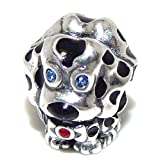 ICYROSE Solid 925 Sterling Silver Dalmatian with Blue and Red CZ Charm Bead for European Snake Chain Bracelets