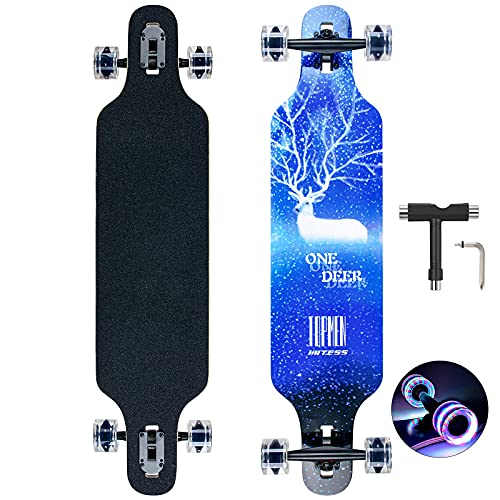Longboard Skateboard für Jungen Mädchen Anfänger Erwachsener Teenager,Cruiser komplettes Board 8-lagiger Ahorn Longboard Bürste Street Dance Board mit T-Tool