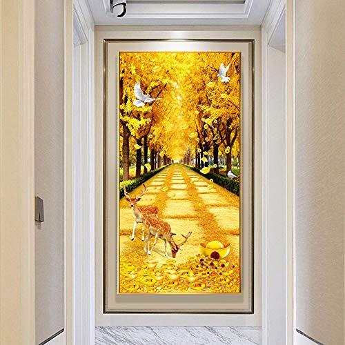 SYyshyin Mural de otoño avenida dorada DIY pintura de diamantes sin marco, versión vertical, murales 5D, murales decorativos de pared, sala de estar, entrada al hogar (tamaño: 80 x 160 cm)